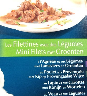 仔羊、鶏肉、ウサギ、仔牛の肉片&野菜のMIX。